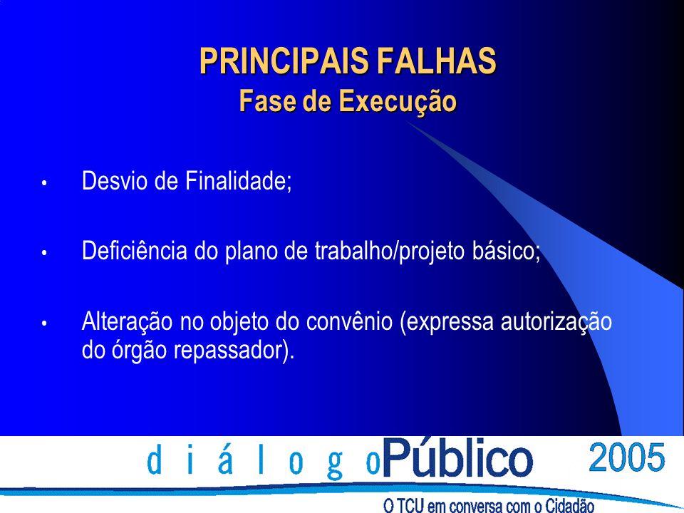 PRINCIPAIS FALHAS Fase de Execução Desvio de Finalidade; Deficiência do plano de trabalho/projeto básico; Alteração no objeto do convênio (expressa au