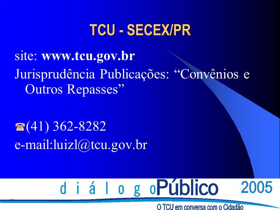 TCU - SECEX/PR site: www.tcu.gov.br Jurisprudência Publicações: Convênios e Outros Repasses (41) 362-8282 e-mail:luizl@tcu.gov.br