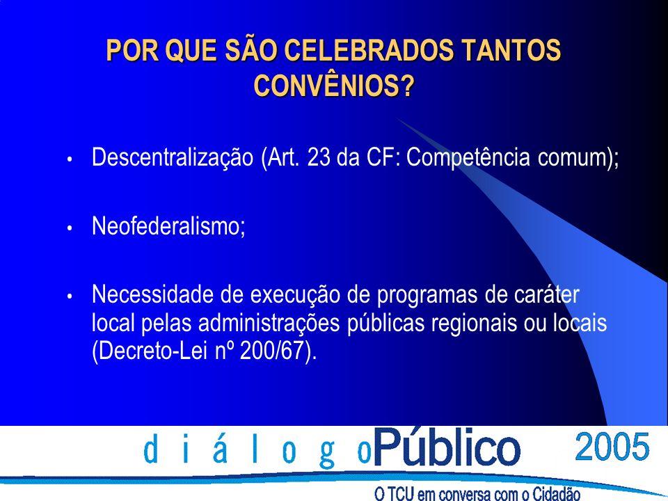 POR QUE SÃO CELEBRADOS TANTOS CONVÊNIOS? Descentralização (Art. 23 da CF: Competência comum); Neofederalismo; Necessidade de execução de programas de