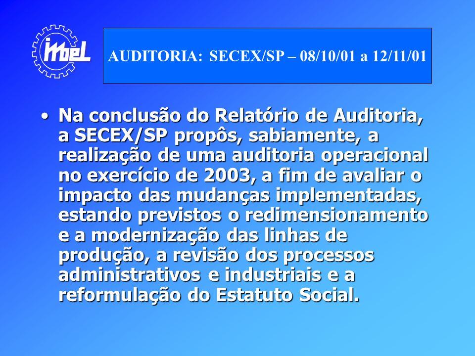 Na conclusão do Relatório de Auditoria, a SECEX/SP propôs, sabiamente, a realização de uma auditoria operacional no exercício de 2003, a fim de avalia