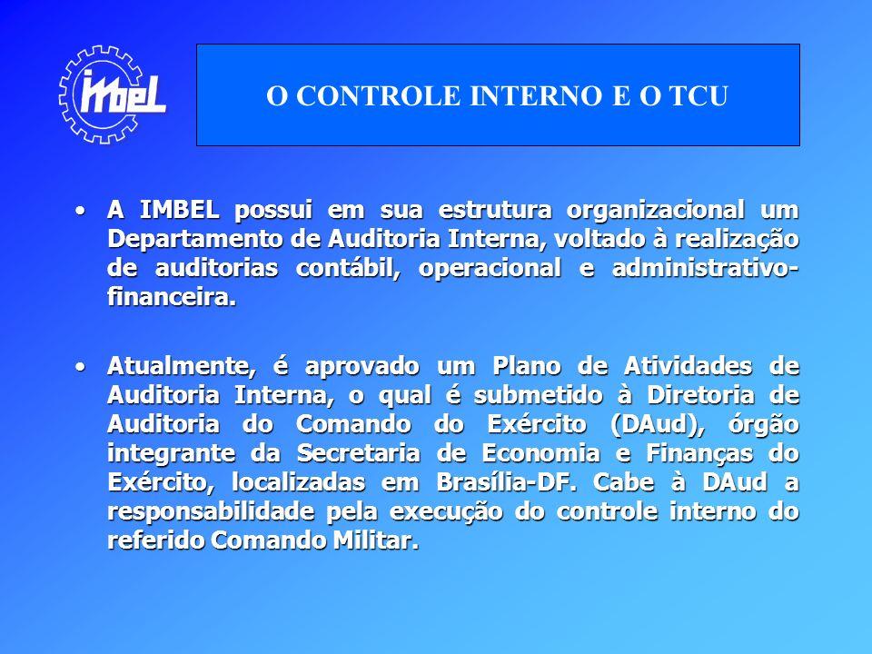 A IMBEL possui em sua estrutura organizacional um Departamento de Auditoria Interna, voltado à realização de auditorias contábil, operacional e admini