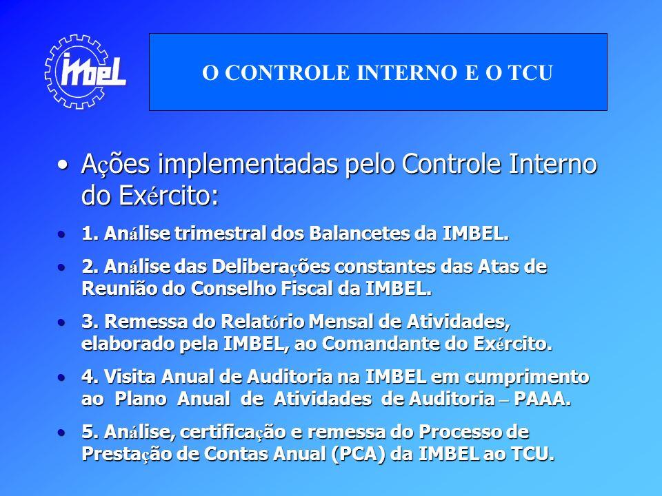 A ç ões implementadas pelo Controle Interno do Ex é rcito:A ç ões implementadas pelo Controle Interno do Ex é rcito: 1. An á lise trimestral dos Balan