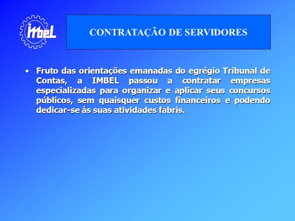 Fruto das orientações emanadas do egrégio Tribunal de Contas, a IMBEL passou a contratar empresas especializadas para organizar e aplicar seus concurs