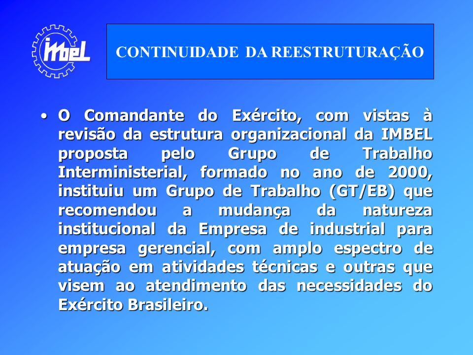 O Comandante do Exército, com vistas à revisão da estrutura organizacional da IMBEL proposta pelo Grupo de Trabalho Interministerial, formado no ano d