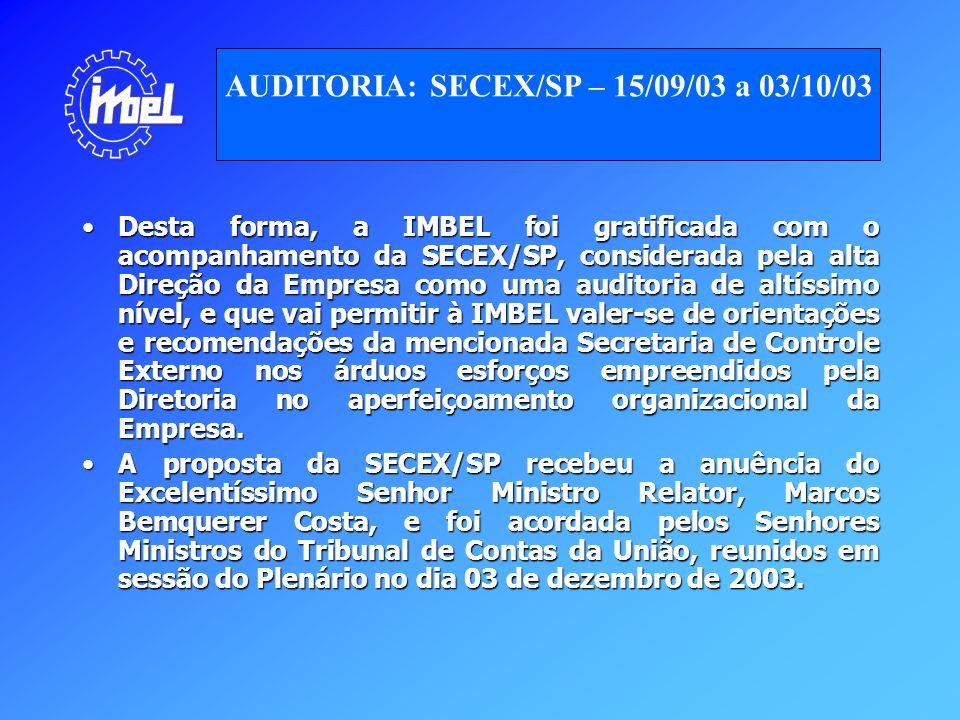 Desta forma, a IMBEL foi gratificada com o acompanhamento da SECEX/SP, considerada pela alta Direção da Empresa como uma auditoria de altíssimo nível,