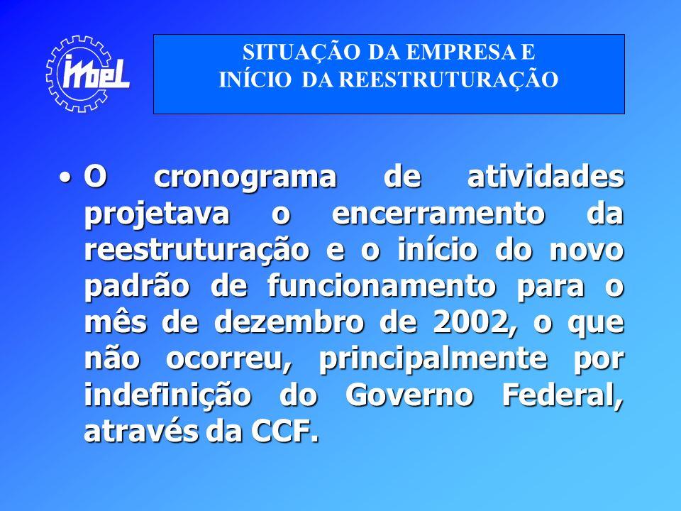 O cronograma de atividades projetava o encerramento da reestruturação e o início do novo padrão de funcionamento para o mês de dezembro de 2002, o que