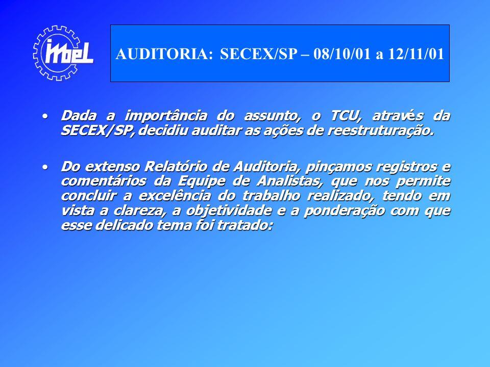 Dada a importância do assunto, o TCU, através da SECEX/SP, decidiu auditar as ações de reestruturação.Dada a importância do assunto, o TCU, através da