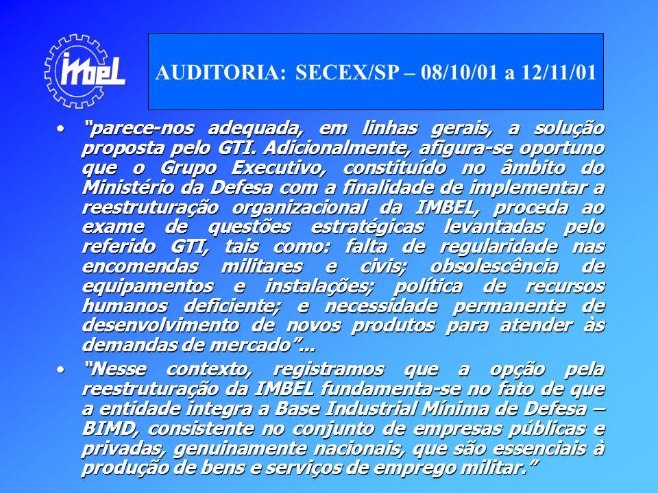 Em sessão realizada no dia 19 de junho de 2002, a decisão proposta pelo Excelentíssimo Senhor Ministro Relator Augusto Scherman Cavalcanti, foi aprovada pelo Plenário, assim propugnada: recomendar aos Ministros de Estado da Defesa, da Fazenda e do Planejamento, Orçamento e Gestão que envidem esforços para apreciar, com a urgência que o caso requer, a Proposta de Reestruturação e as propostas constantes do relatório de levantamento de auditoria – SECEX/SP, sejam acolhidas, por julgá-las razoáveis ante a relevância estratégica da IMBEL e a perspectiva de se ver avolumarem-se os prejuízos no resultado da entidade, caso os problemas constatados não sejam prontamente saneados pelo Governo Federal.Em sessão realizada no dia 19 de junho de 2002, a decisão proposta pelo Excelentíssimo Senhor Ministro Relator Augusto Scherman Cavalcanti, foi aprovada pelo Plenário, assim propugnada: recomendar aos Ministros de Estado da Defesa, da Fazenda e do Planejamento, Orçamento e Gestão que envidem esforços para apreciar, com a urgência que o caso requer, a Proposta de Reestruturação e as propostas constantes do relatório de levantamento de auditoria – SECEX/SP, sejam acolhidas, por julgá-las razoáveis ante a relevância estratégica da IMBEL e a perspectiva de se ver avolumarem-se os prejuízos no resultado da entidade, caso os problemas constatados não sejam prontamente saneados pelo Governo Federal.
