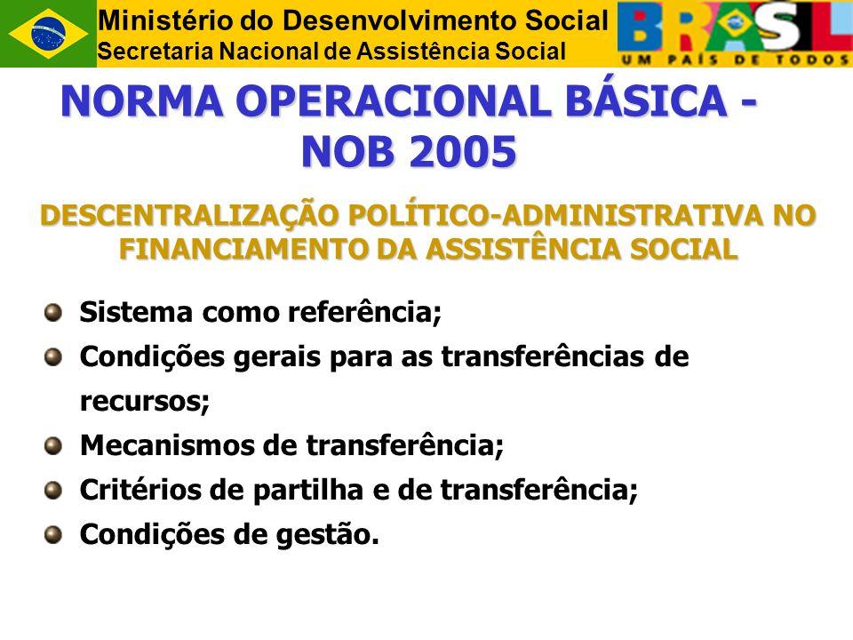 Ministério do Desenvolvimento Social Secretaria Nacional de Assistência Social NORMA OPERACIONAL BÁSICA - NOB 2005 DESCENTRALIZAÇÃO POLÍTICO-ADMINISTRATIVA NO FINANCIAMENTO DA ASSISTÊNCIA SOCIAL Sistema como referência; Condições gerais para as transferências de recursos; Mecanismos de transferência; Critérios de partilha e de transferência; Condições de gestão.