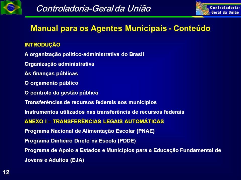 Controladoria-Geral da União 12 INTRODUÇÃO A organização político-administrativa do Brasil Organização administrativa As finanças públicas O orçamento