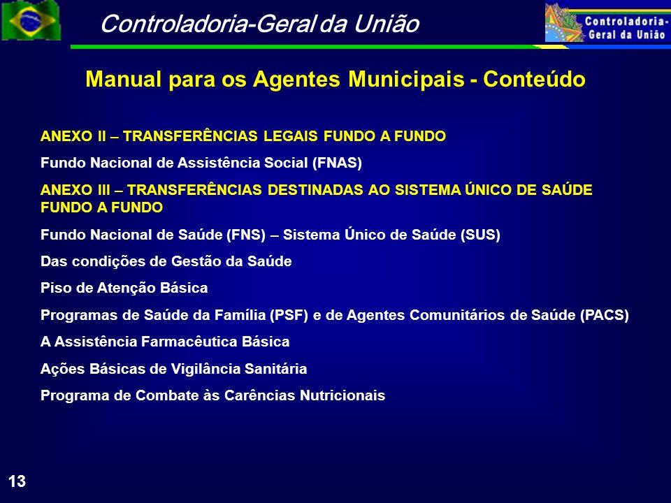 Controladoria-Geral da União 13 ANEXO II – TRANSFERÊNCIAS LEGAIS FUNDO A FUNDO Fundo Nacional de Assistência Social (FNAS) ANEXO III – TRANSFERÊNCIAS