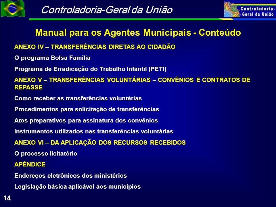 Controladoria-Geral da União 14 ANEXO IV – TRANSFERÊNCIAS DIRETAS AO CIDADÃO O programa Bolsa Família Programa de Erradicação do Trabalho Infantil (PE