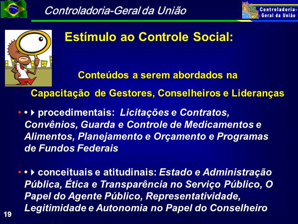 Controladoria-Geral da União 19 Conteúdos a serem abordados na Capacitação de Gestores, Conselheiros e Lideranças procedimentais: Licitações e Contrat