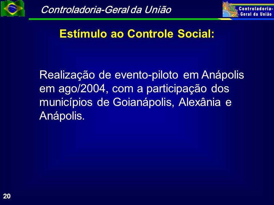Controladoria-Geral da União 20 Realização de evento-piloto em Anápolis em ago/2004, com a participação dos municípios de Goianápolis, Alexânia e Anáp