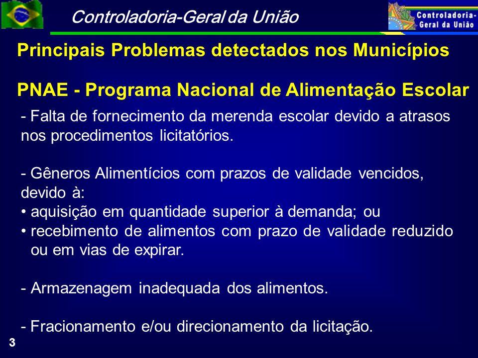Controladoria-Geral da União 3 PNAE - Programa Nacional de Alimentação Escolar - Falta de fornecimento da merenda escolar devido a atrasos nos procedi