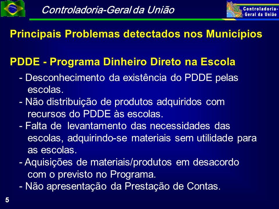 Controladoria-Geral da União 5 PDDE - Programa Dinheiro Direto na Escola - Desconhecimento da existência do PDDE pelas escolas. - Não distribuição de