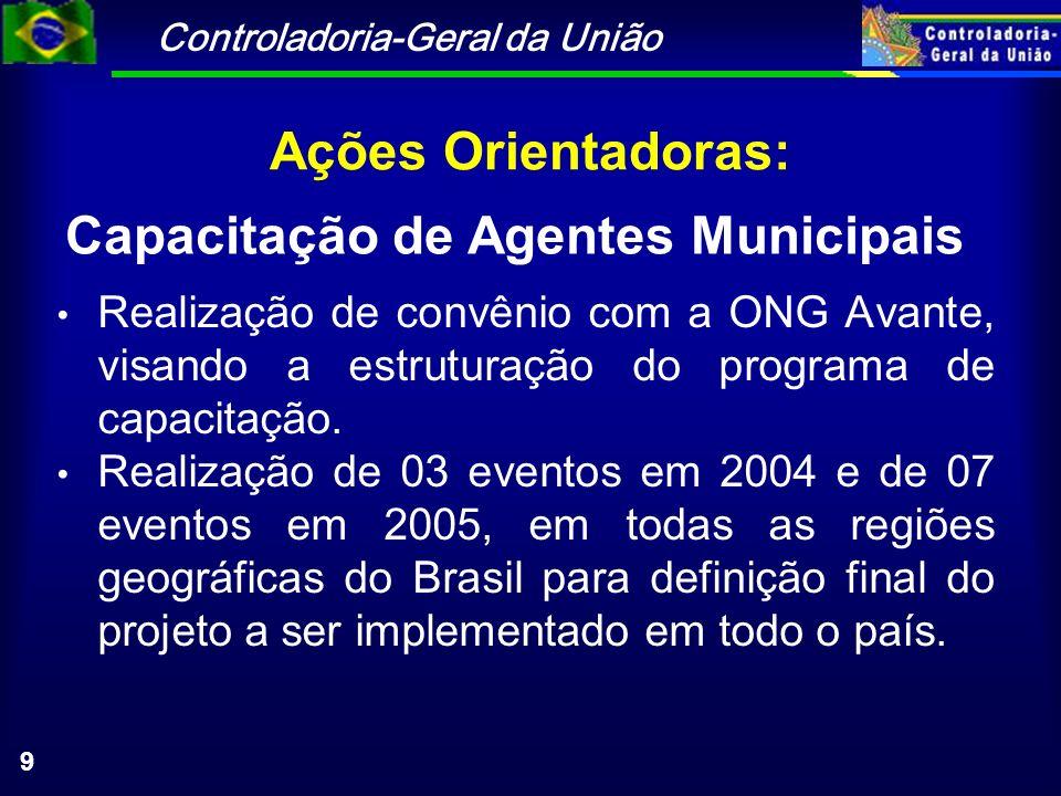 Controladoria-Geral da União 9 Ações Orientadoras: Realização de convênio com a ONG Avante, visando a estruturação do programa de capacitação. Realiza