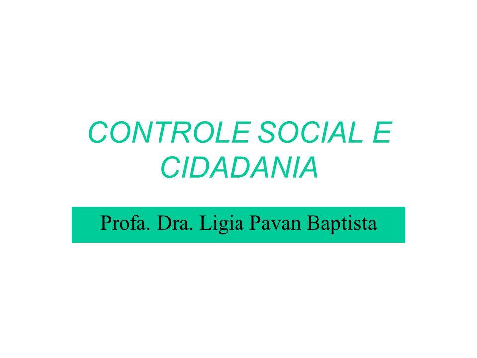 CONTROLE SOCIAL E CIDADANIA Profa. Dra. Ligia Pavan Baptista
