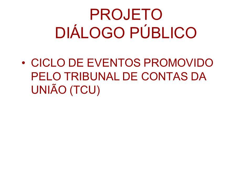 PROJETO DIÁLOGO PÚBLICO CICLO DE EVENTOS PROMOVIDO PELO TRIBUNAL DE CONTAS DA UNIÃO (TCU)