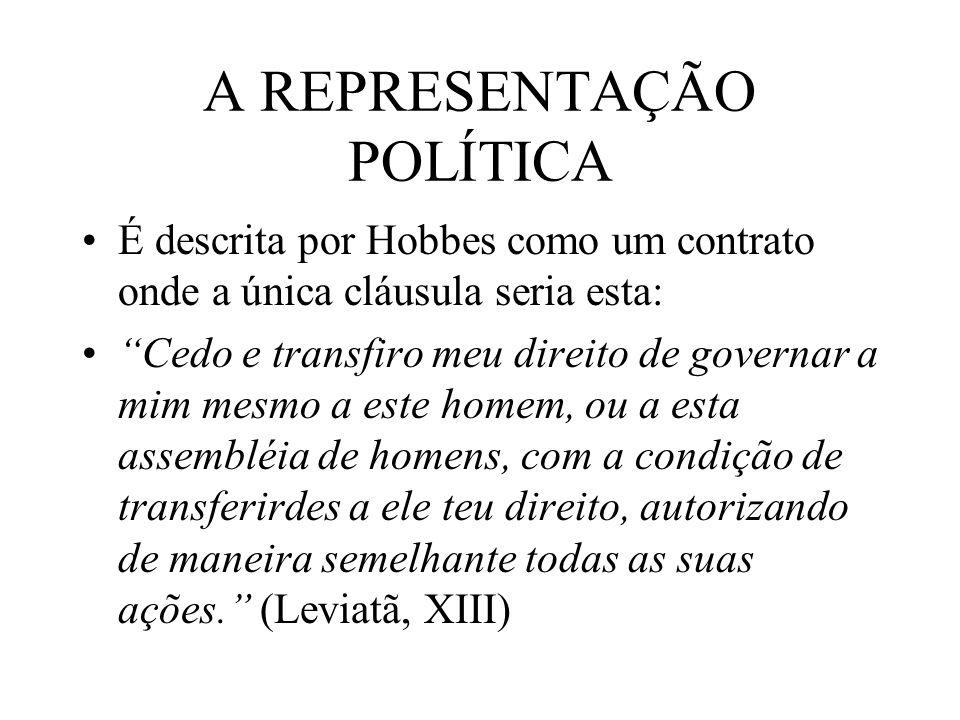 A REPRESENTAÇÃO POLÍTICA É descrita por Hobbes como um contrato onde a única cláusula seria esta: Cedo e transfiro meu direito de governar a mim mesmo