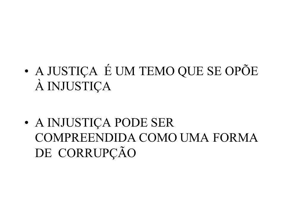 A JUSTIÇA É UM TEMO QUE SE OPÕE À INJUSTIÇA A INJUSTIÇA PODE SER COMPREENDIDA COMO UMA FORMA DE CORRUPÇÃO