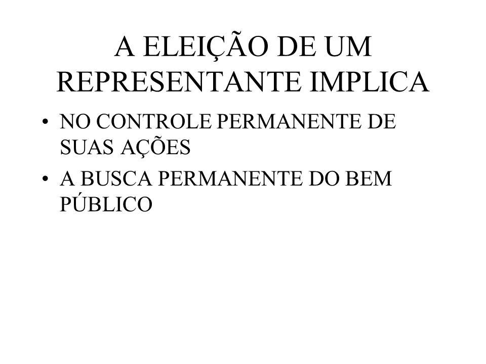A ELEIÇÃO DE UM REPRESENTANTE IMPLICA NO CONTROLE PERMANENTE DE SUAS AÇÕES A BUSCA PERMANENTE DO BEM PÚBLICO