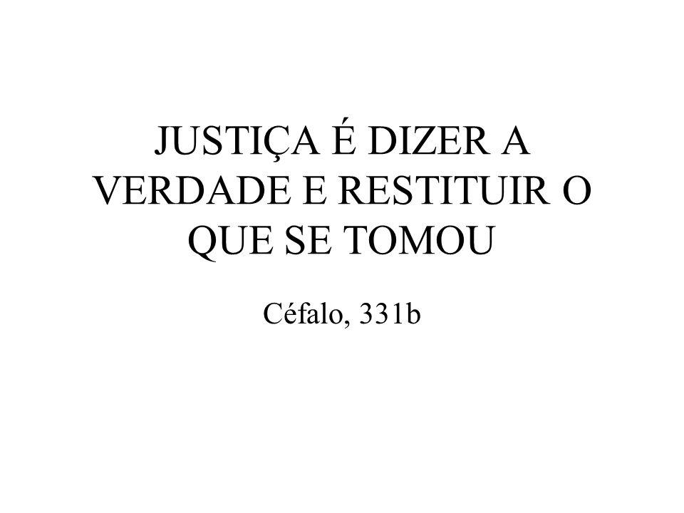 JUSTIÇA É DIZER A VERDADE E RESTITUIR O QUE SE TOMOU Céfalo, 331b