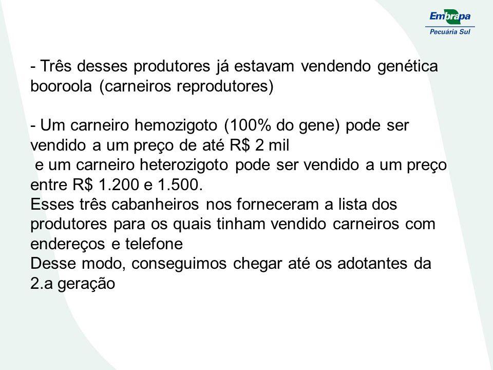 - Três desses produtores já estavam vendendo genética booroola (carneiros reprodutores) - Um carneiro hemozigoto (100% do gene) pode ser vendido a um