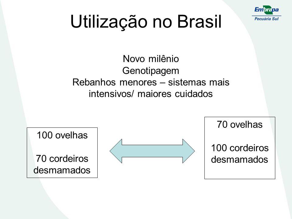 Utilização no Brasil Novo milênio Genotipagem Rebanhos menores – sistemas mais intensivos/ maiores cuidados 100 ovelhas 70 cordeiros desmamados 70 ove