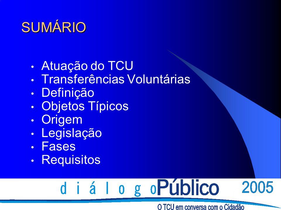 SUMÁRIO Atuação do TCU Transferências Voluntárias Definição Objetos Típicos Origem Legislação Fases Requisitos
