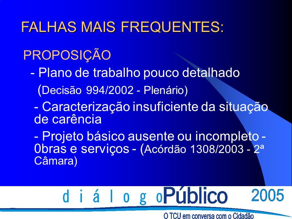 FALHAS MAIS FREQUENTES: PROPOSIÇÃO - Plano de trabalho pouco detalhado ( Decisão 994/2002 - Plenário) - Caracterização insuficiente da situação de car