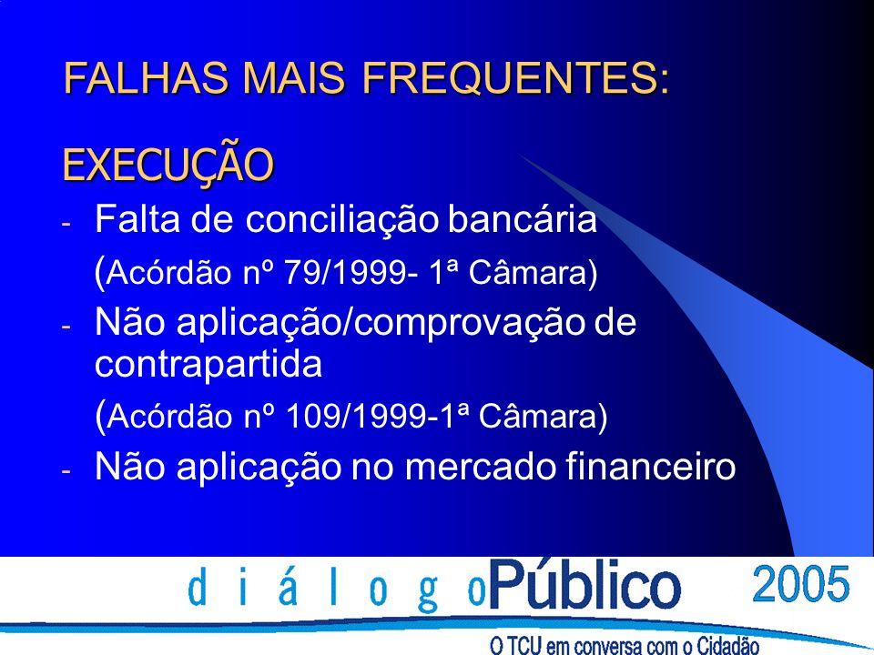 EXECUÇÃO - Falta de conciliação bancária ( Acórdão nº 79/1999- 1ª Câmara) - Não aplicação/comprovação de contrapartida ( Acórdão nº 109/1999-1ª Câmara