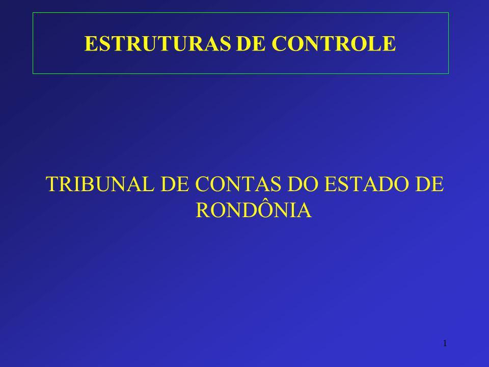 1 ESTRUTURAS DE CONTROLE TRIBUNAL DE CONTAS DO ESTADO DE RONDÔNIA