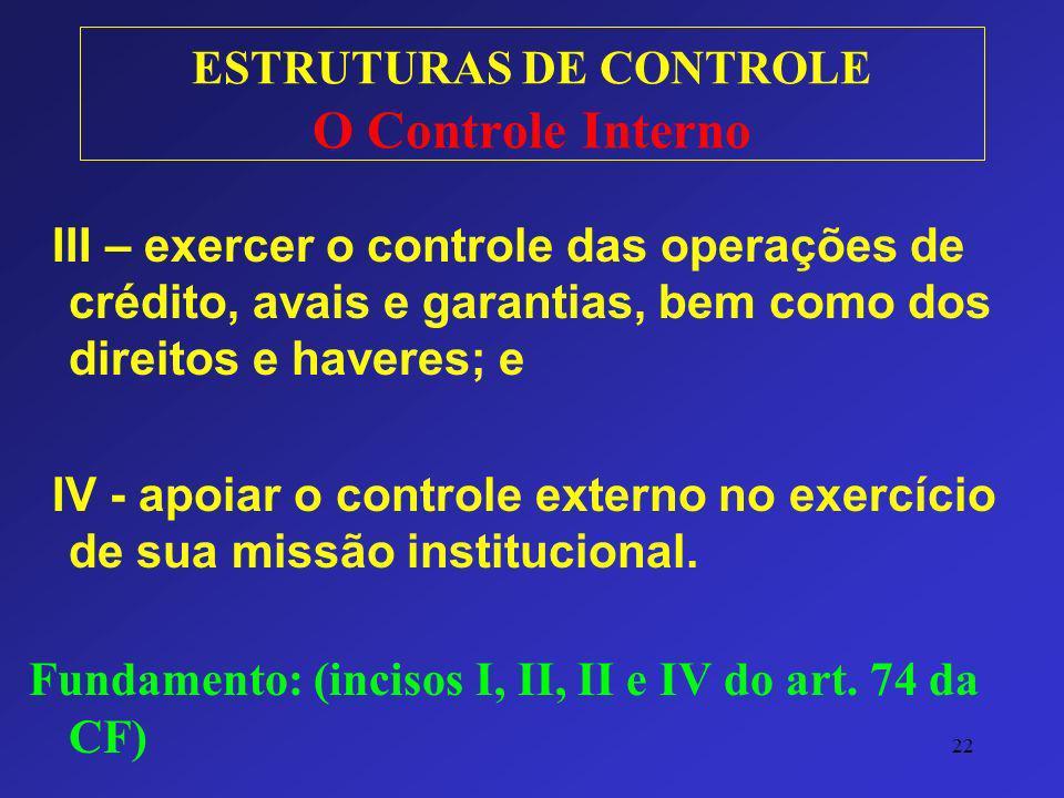22 ESTRUTURAS DE CONTROLE O Controle Interno III – exercer o controle das operações de crédito, avais e garantias, bem como dos direitos e haveres; e