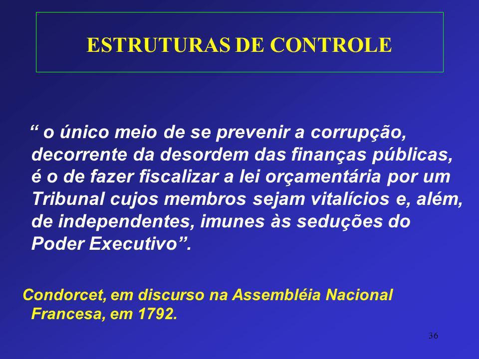 36 ESTRUTURAS DE CONTROLE o único meio de se prevenir a corrupção, decorrente da desordem das finanças públicas, é o de fazer fiscalizar a lei orçamen