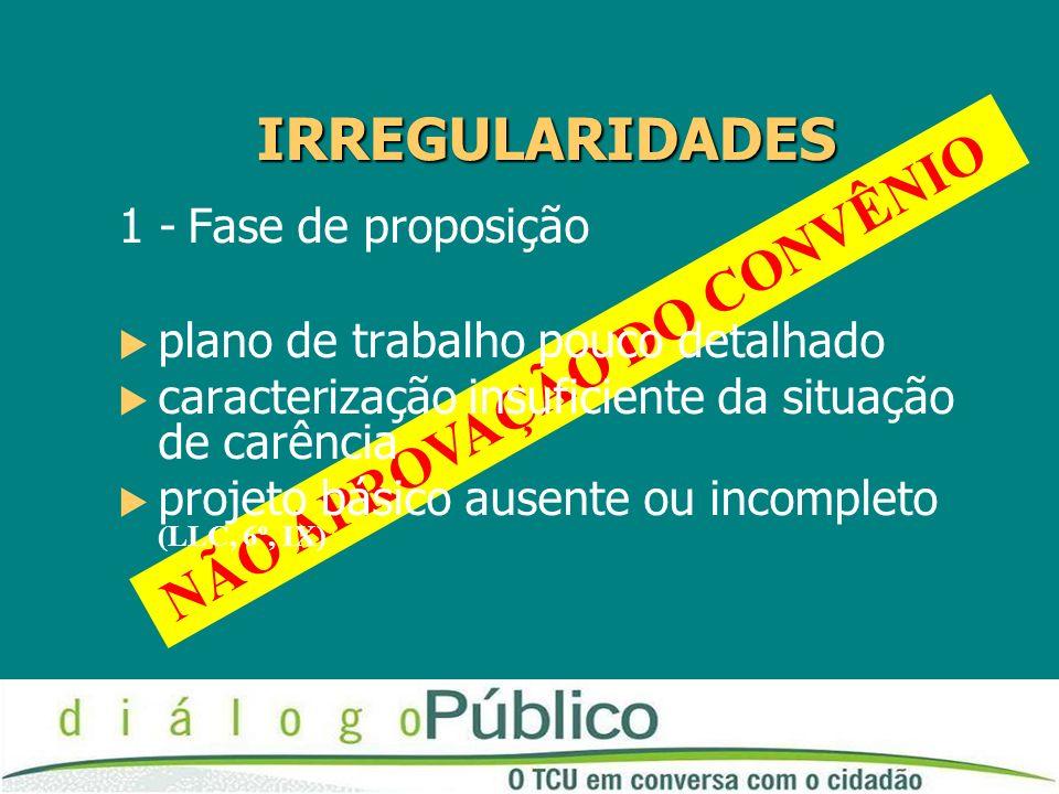 NÃO APROVAÇÃO DO CONVÊNIO 1 - Fase de proposição plano de trabalho pouco detalhado caracterização insuficiente da situação de carência projeto básico