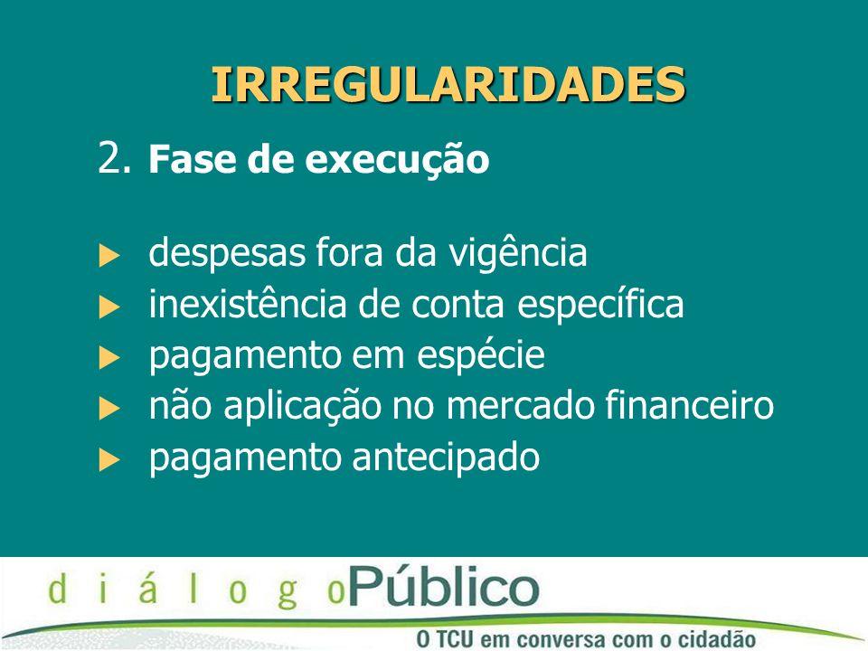 IRREGULARIDADES 2. Fase de execução despesas fora da vigência inexistência de conta específica pagamento em espécie não aplicação no mercado financeir
