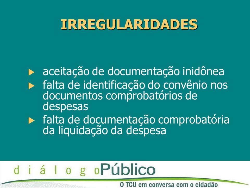 IRREGULARIDADES aceitação de documentação inidônea falta de identificação do convênio nos documentos comprobatórios de despesas falta de documentação