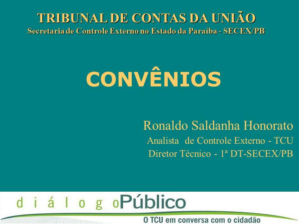 CONVÊNIOS TRIBUNAL DE CONTAS DA UNIÃO Secretaria de Controle Externo no Estado da Paraíba - SECEX/PB Ronaldo Saldanha Honorato Analista de Controle Ex