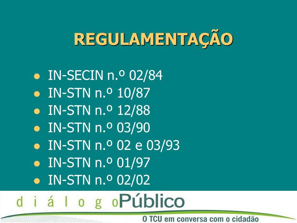 REGULAMENTAÇÃO IN-SECIN n.º 02/84 IN-STN n.º 10/87 IN-STN n.º 12/88 IN-STN n.º 03/90 IN-STN n.º 02 e 03/93 IN-STN n.º 01/97 IN-STN n.º 02/02