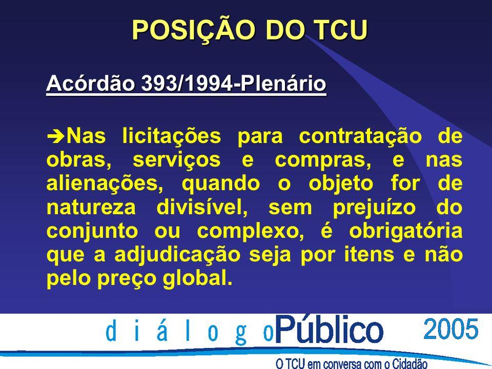 POSIÇÃO DO TCU Acórdão 393/1994-Plenário è Nas licitações para contratação de obras, serviços e compras, e nas alienações, quando o objeto for de natu