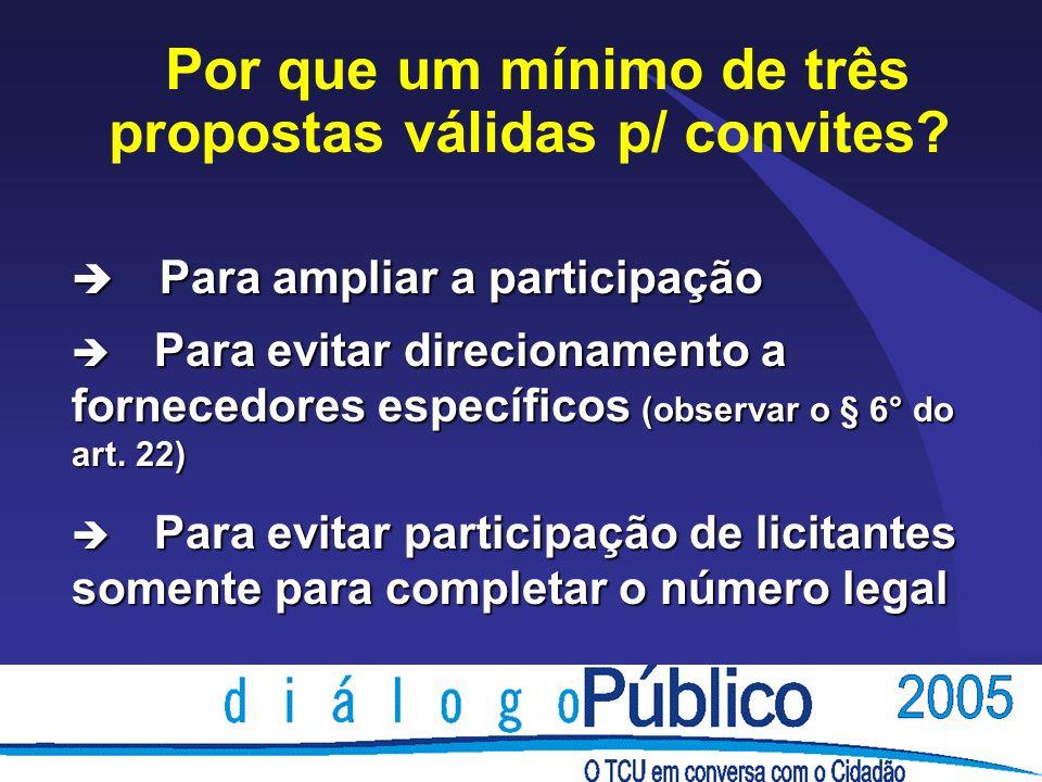 è Para ampliar a participação è Para evitar direcionamento a fornecedores específicos (observar o § 6° do art. 22) è Para evitar participação de licit