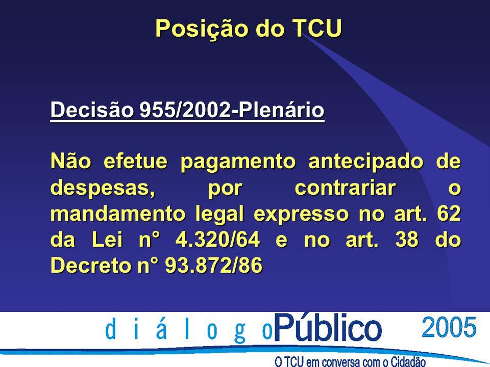 Posição do TCU Decisão 955/2002-Plenário Não efetue pagamento antecipado de despesas, por contrariar o mandamento legal expresso no art. 62 da Lei n°