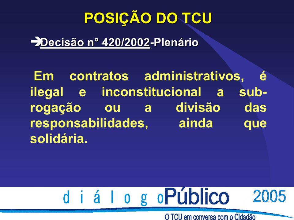 POSIÇÃO DO TCU è Decisão n° 420/2002-Plenário Em contratos administrativos, é ilegal e inconstitucional a sub- rogação ou a divisão das responsabilida