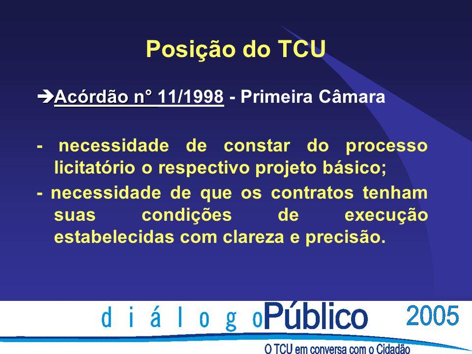 Posição do TCU èAcórdão n° èAcórdão n° 11/1998 - Primeira Câmara - necessidade de constar do processo licitatório o respectivo projeto básico; - neces