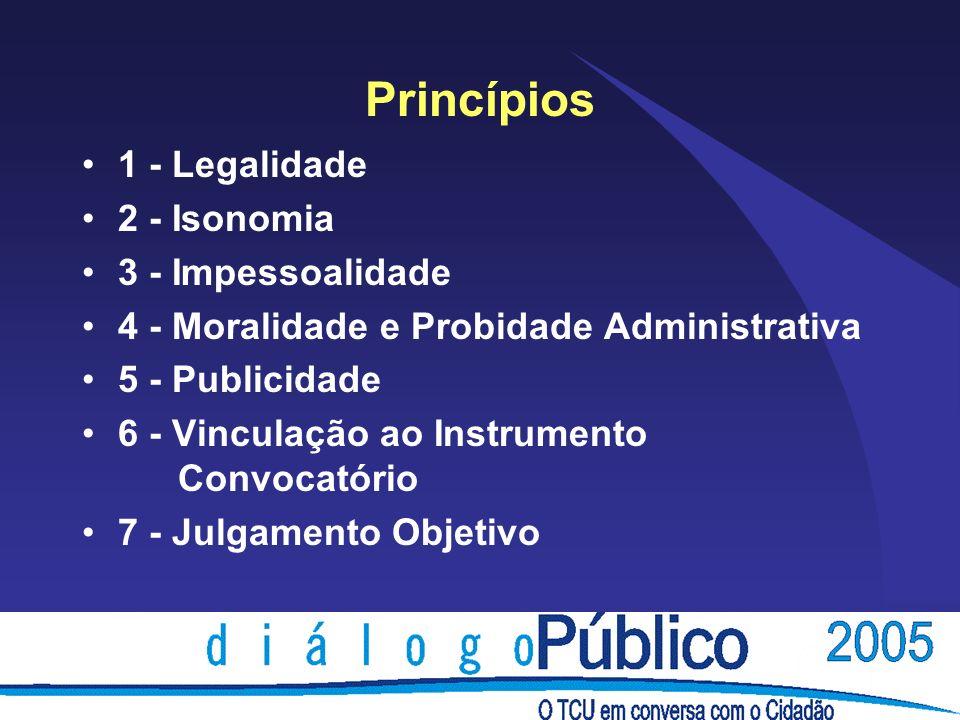 Princípios 1 - Legalidade 2 - Isonomia 3 - Impessoalidade 4 - Moralidade e Probidade Administrativa 5 - Publicidade 6 - Vinculação ao Instrumento Conv