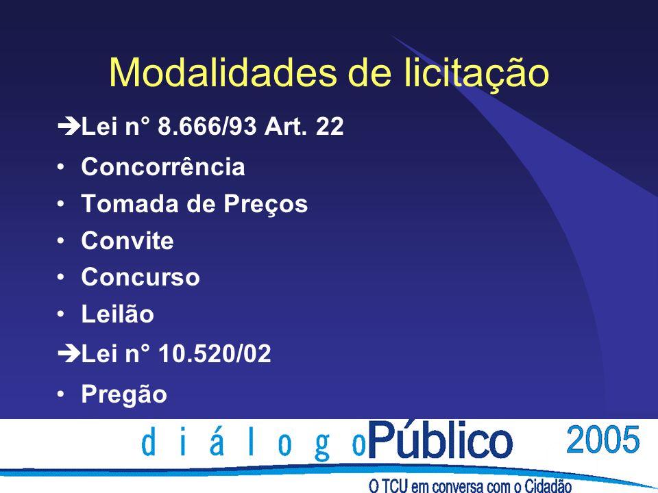 Modalidades de licitação èLei n° 8.666/93 Art. 22 Concorrência Tomada de Preços Convite Concurso Leilão èLei n° 10.520/02 Pregão