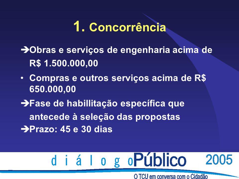 1. Concorrência èObras e serviços de engenharia acima de R$ 1.500.000,00 Compras e outros serviços acima de R$ 650.000,00 èFase de habillitação especí