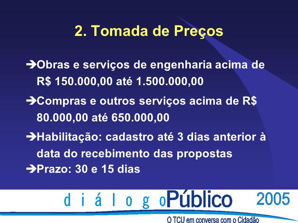 2. Tomada de Preços èObras e serviços de engenharia acima de R$ 150.000,00 até 1.500.000,00 èCompras e outros serviços acima de R$ 80.000,00 até 650.0