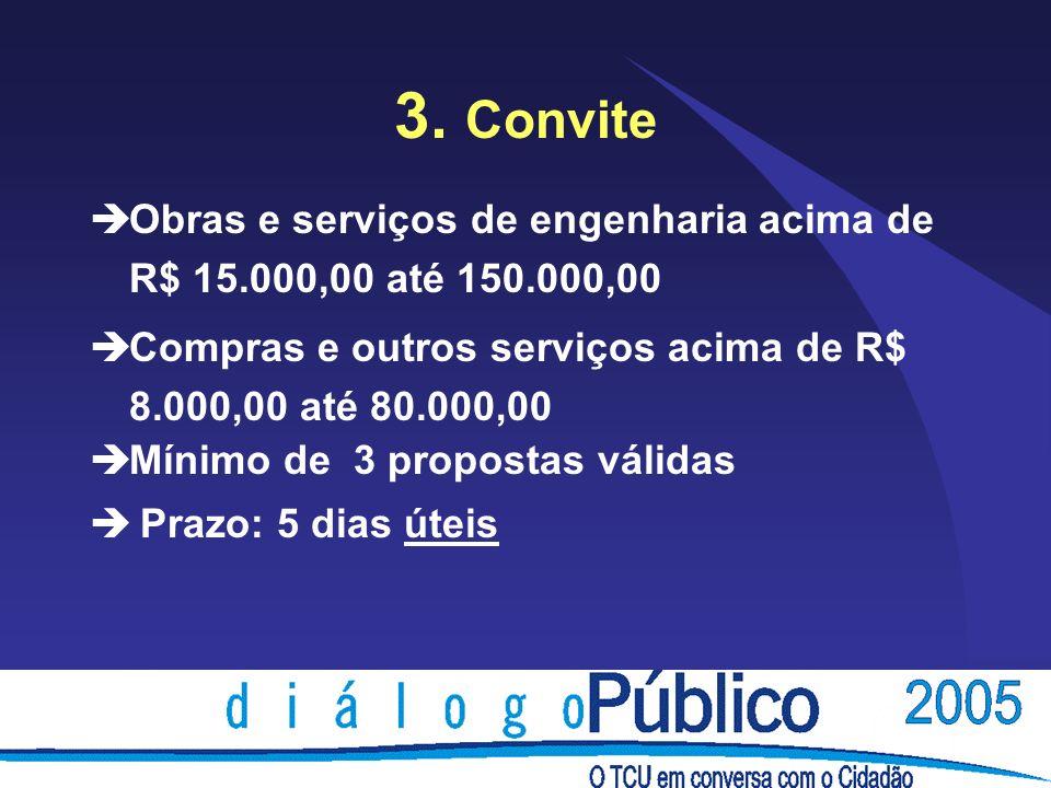 3. Convite èObras e serviços de engenharia acima de R$ 15.000,00 até 150.000,00 èCompras e outros serviços acima de R$ 8.000,00 até 80.000,00 èMínimo